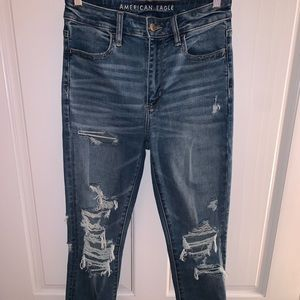 ripped super hi-rise begging from american eagle